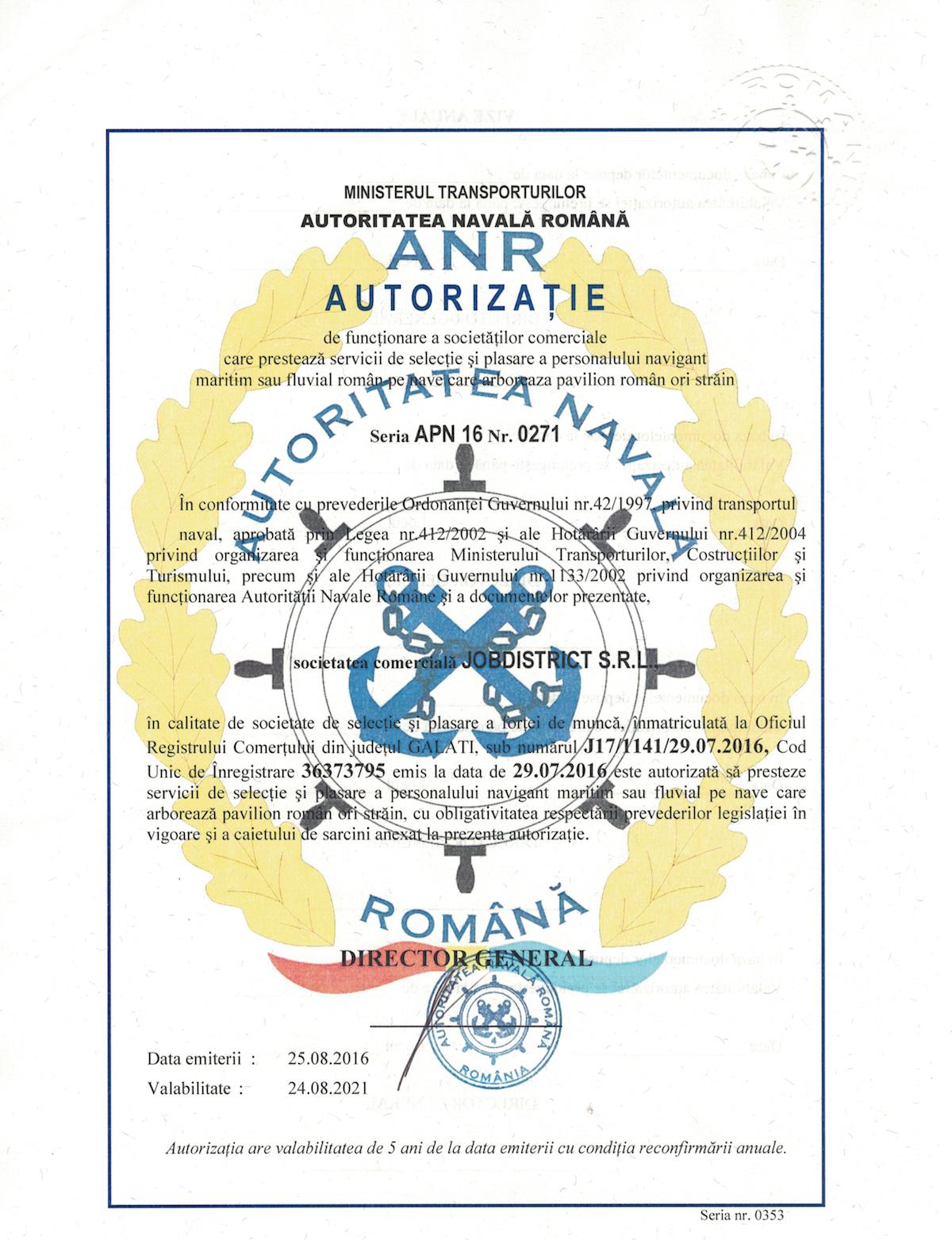 Autorizatie ANR